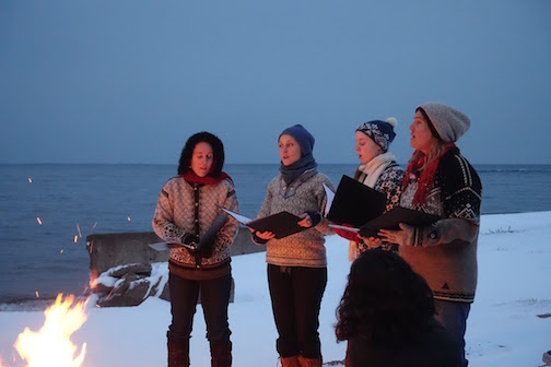 SVEA, local acapella Swedish folk singing group, will perform at the Johnson Heritage Post on Friday night. They sang at the Full Moon Gathering at Drury Lane Books earlier this year. Photo by Virginia Danfelt.
