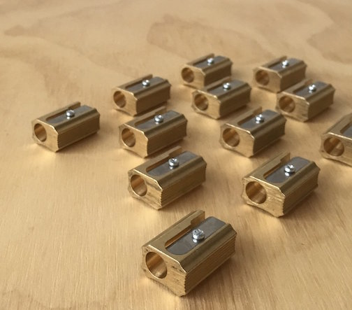 UpState MN has fantastic brass pencil sharpeners from Germany. They come as single or double sharpeners.