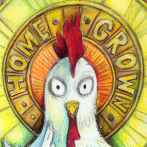 Chickens, in a variety of forms, have been the image for the Homegrown Music Festival since the beginning. Here's one of the latest.