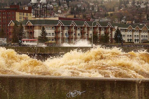 Rough Seas in the (Duluth shipping) canal by Jeffrey Doty.
