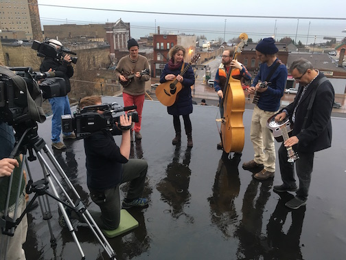 The Plucked Up String Band plays a tune in the drizzle in Duluth for WDSE's The Playlist.
