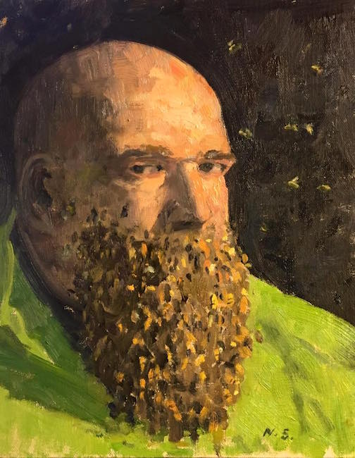 "Neil Sherman, ""Self-Portrait, With a Beard of Bees."""