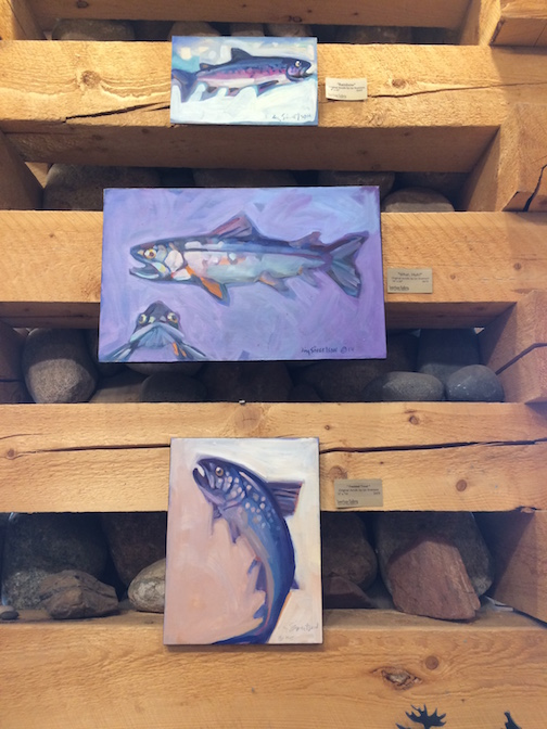 Lake trout paintings by Liz Sivertson are at Sivertson Gallery.