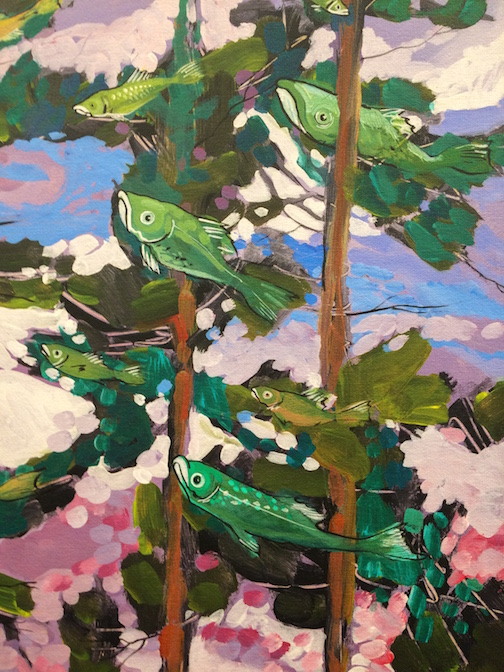 "A detail of ""It's a Bird! It'sa Plane! It's Fish!"" by Tim Young. His paintings are at Sivertson Gallery."