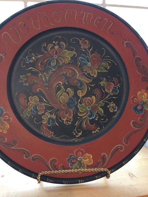 Edna Bowen has some of her rosemaling work at Joy & Co.