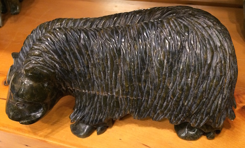 New stone sculptures have arrived at Sivertson Gallery, including this soapstone musk ox carved by Kelly Etidloie.