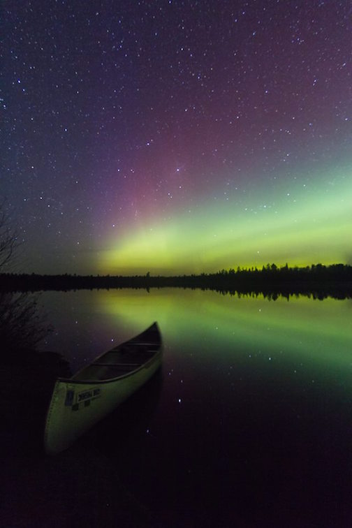 April Aurora over Kawishiwi Lake in the BWCA by Thomas Spence.
