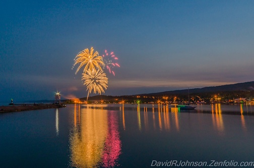Fireworks over Grand Marais by David Johnson. (2015)