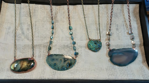 Michelle Shanblott  new vendor, labradorite, amethyst and geode jewelry