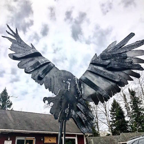 This steel sculpture by Carol Ann Shikany-Tentinger is at Kah-Nee-Tah Gallery in Lutsen.