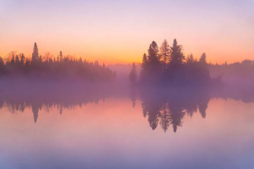 """The colors of fog at dawn--Superior National Forest"" by Ken Harmon."