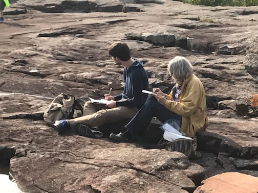 The Arrowhead Sketchers met at Artist's Point last week. Pictured above is Riley Kollman, visiting from Tampa, Fl. He is sketching with his grandmother, Kathy Weinberg.