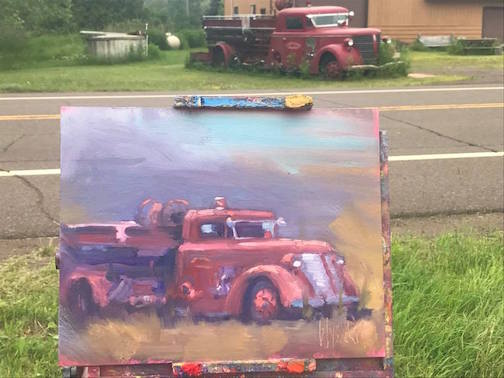 """""""Knife River Relic,"""" plein air painting by Stephen Wysocki, one of the works in the Plein Air exhibit that open July 14 at Blacklist Beer in downtown Duluth."""