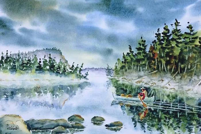 """Hungry Jack Lake,"" watercolor, by Ken Valentas is at Kah-Nee-Tah Gallery in Lutsen."