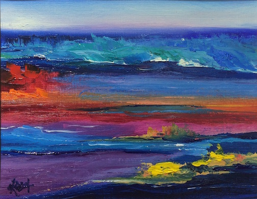 "Kathy Weinberg's ""Twilight Blue"" is at Ron's World Rocks gallery."