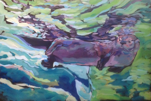 Observational Reflection, painting ty Kat Corrigan. Corrigan opens an exhibit at Tettegouche State Park on Thursday.
