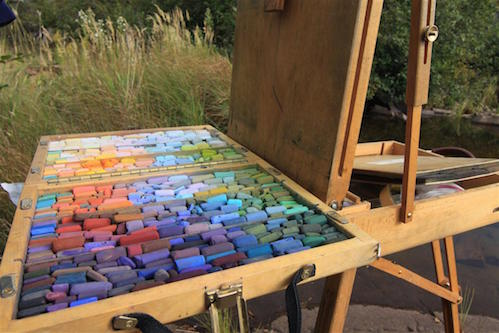 Lisa Stauffer's pastels used in her plein air work. She is one of the artists participating in the Grand Marais Art Colony's  Plein Air competition and sale.