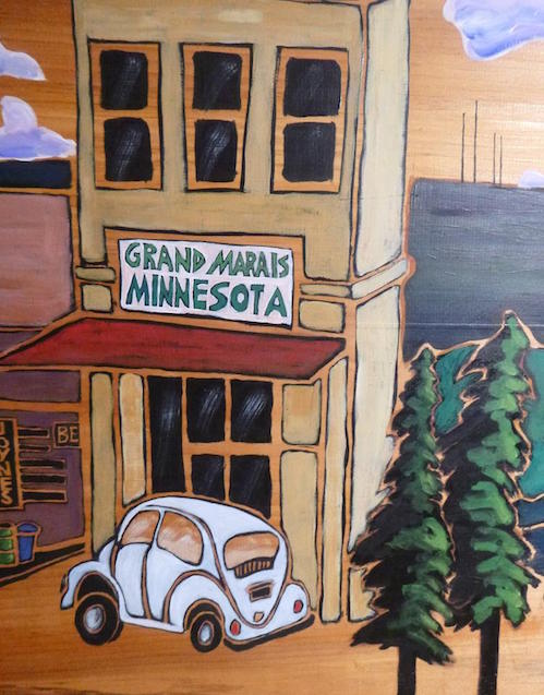 "A new painting by Betsy Bowen! This is a detail from ""Homage to the Home Town,"" acrylic on pine wood. It can be viewed at her studio gallery."