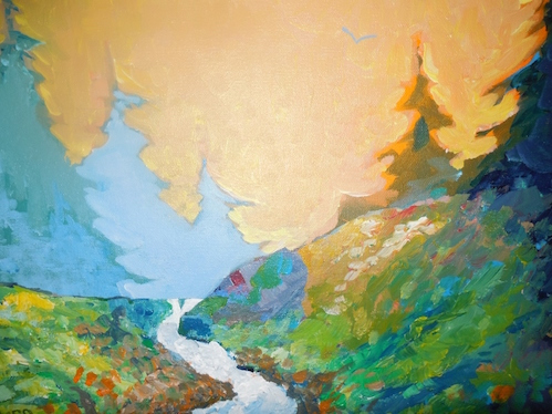 Painting by Bruce Palmer is at the Cross River Heritage Center.