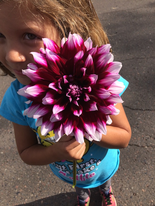 Abby with Dahlia. She found it at the Thursday Local Food Market in Grand Marais.