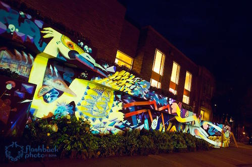 Graffiti art on a wall in Thunder Bay is spectacular under night lighting.