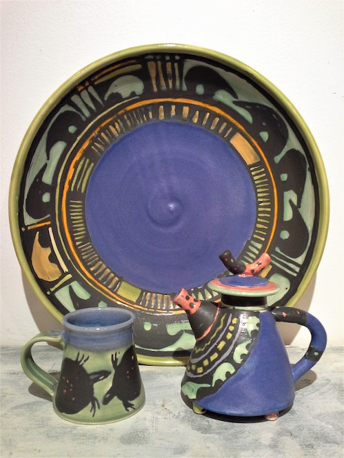 Colorful new pottery with whimsical animal figures by Martye Allen is in at Last Chance Gallery