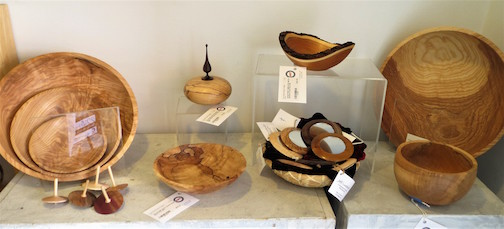 Jeff Luedloff has crafted  fine wooden vessels, mirrors and tops that are featured at Last Chance Gallery in Lutsen.
