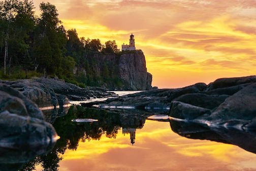 Sunrise at Split Rock Lighthouse by Matt Rohlader.