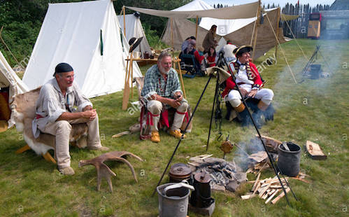 More than 100 re-enactors set up camp at the Grand Portage National Monument during Rendezvous Days.