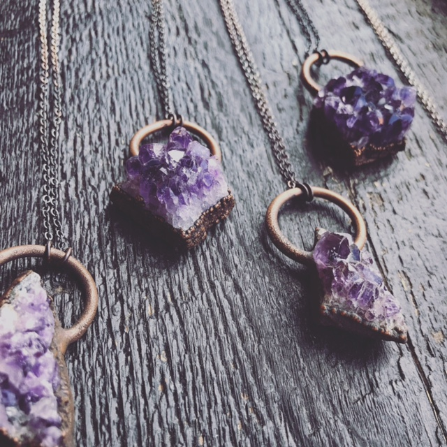 Upstate MN has amethyst druzy necklaces by Jessica Helen o Hawkhouse Designs.