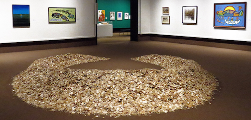 """Carbon Cycle"" by Arron Veldstra, wood chips installation, is one of the pieces in ""The Perspective From Here"" exhibit at the Thunder Bay Art Galery, It closes on Sunday."