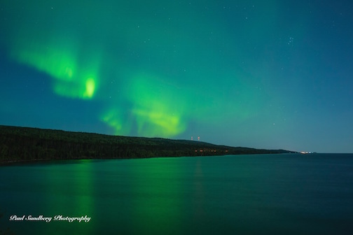 Aurora over Grand Marais by Paul Sundberg.