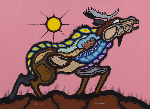 """Moose Spirit"" by Rocky Fiddler,  acrylic on paper, 56 x 76 cm, Collection of the Thunder Bay Art Gallery, Waabanda-Iwewin Collection, Ontario Bicentennial Grant, 1984."