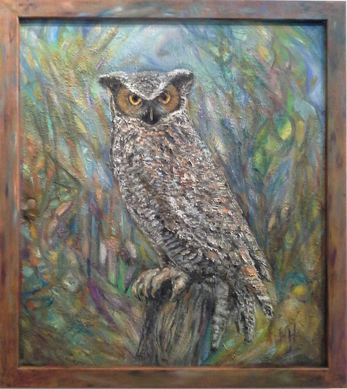 Anna Hess has new paintings at Last Chance Gallery in Lutsen, including Great Grey.