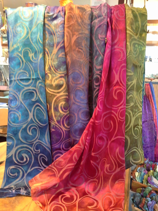 Nancy Richardson has hand-dyed silk scarves at Last Chance Gallery.