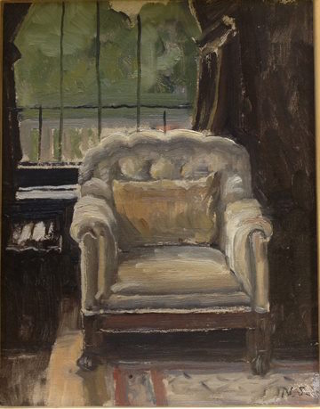 Plein air artist Neil Sherman is participating in the Fall Studio Tour. He calls this painting: Her Favorite Chair.