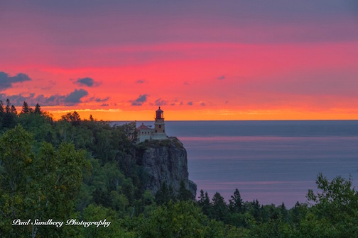 Fall sunrise at Split Rock Lighthouse by Paul Sundberg.