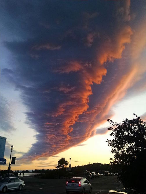 A sunset cloud in Grand Marais by Terry Backlund.
