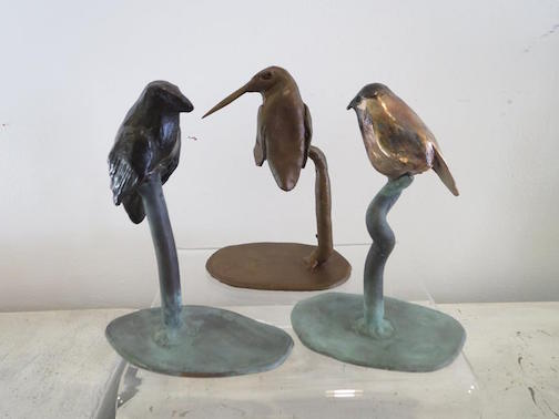 Here's what you can see being poured at the bronze pour at Last Chance Gallery: A raven, a chickadee and a hummingbird.