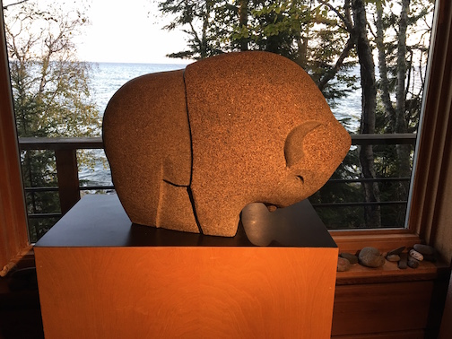 This carved stone Bison by Dan Ross is at the Lee and Dan Ross Studio in Hovland.