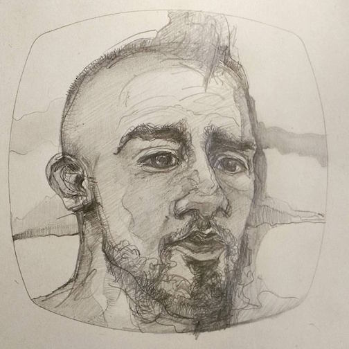 """Arturo Vidal--Chilean footballer"" by Sam Shahsahabi is on exhibit at the Definitely Superior Art Gallery in Thunder Bay."