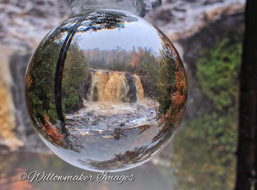A phone shot at Little Manitou Falls with a crystal ball by Jamie Rabold.