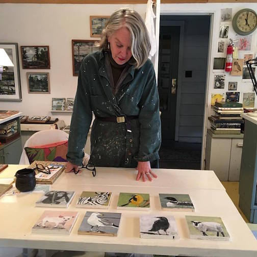 Jeanne Hedstrom is showing a wide variety of paintings in her studio.