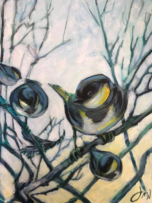 J.Niesen has new work, including this painting of chickadees,  at Kah-Nee-Tah Gallery in Lutsen.