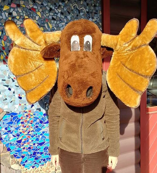 Murray the Moose makes an appearance at WTIP Community Radio.