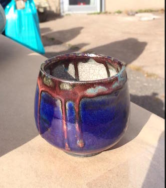 One of the raku-fired tea bowls created in Do You Raku, We Do last year. It will be held on Saturday behind Sivertson Gallery.