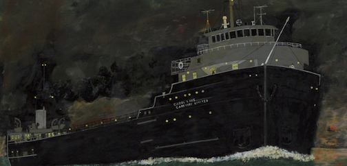 "Angus Trudeau, ""Carol Lake/Night Scene,"" (detail), 1978, enamel paint on bristol board, 56 x 72 cm, Collection of Thunder Bay Art Gallery, Helen E. Band Collection, 1994."