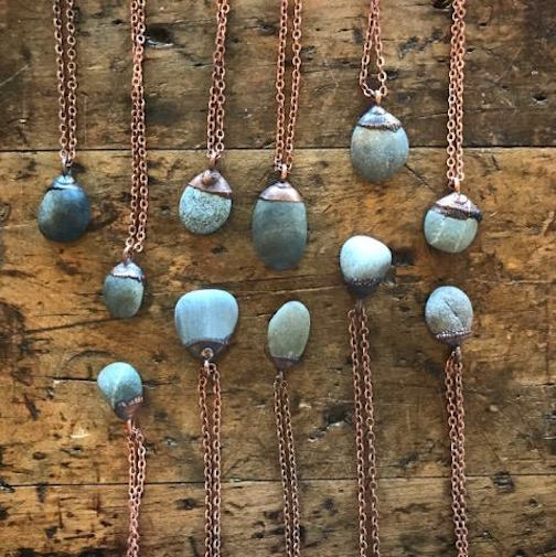 Beach pebble necklaces by Jessia Helen of Hawkhouse Designs are at Upstate MN.