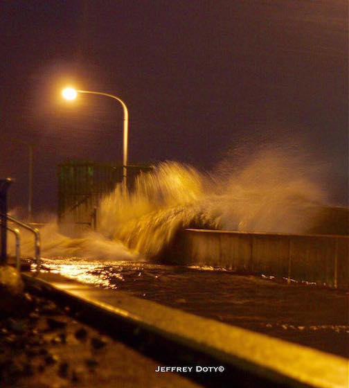Jeffrey Doty was at Canal Park and caught these waves crashing over the canal walls. Yikes! Canal Park was flooded.