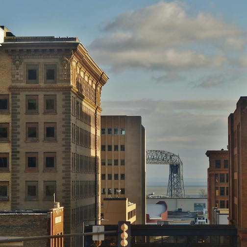 The afternoon light, downtown Duluth by Jan Swart.